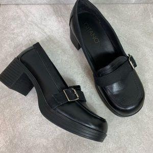 Vintage Gitano 90s Black Chunky Block Heel Loafers